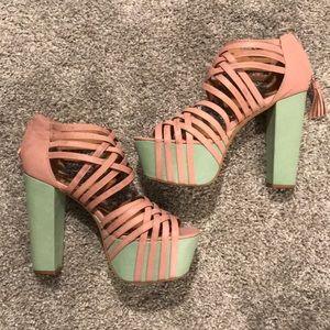 Matiko Pink & Mint Strappy Heels